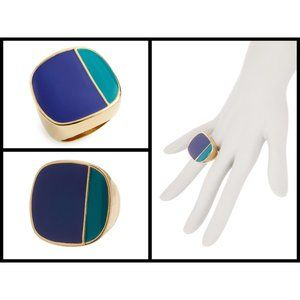TRINA TURK Colorblock Enamel Ring - Blue/Green
